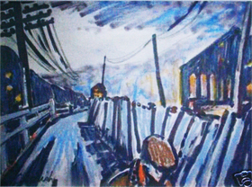 A painting of Spennymoor's back streets