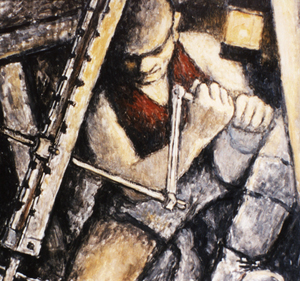 Painting of a miner underground with a drill