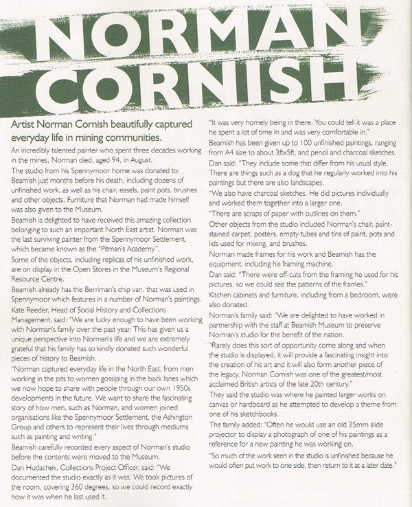 A newspaper article about the works of Norman Cornish