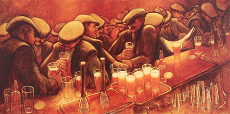 A painting of a busy bar scene