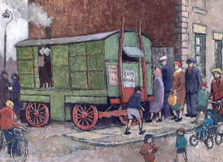 A painting of Berriman's Chip Van