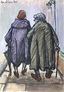 A painting of two woman walking along a pathway