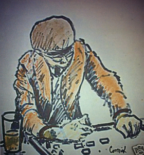 A painting of a domino player at a bar