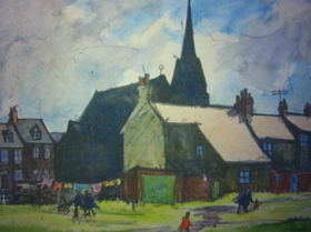 A painting of houses with St. Cuthbert's Church in background on a dry day