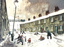 A painting of a Northern estate during wintertime including a snow ball fight