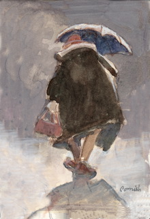 A painting of a woman walking into the distance carrying a bag and umbrella