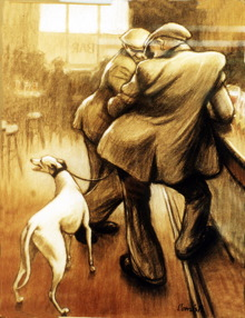 A painting of two men with a greyhound inside a pub