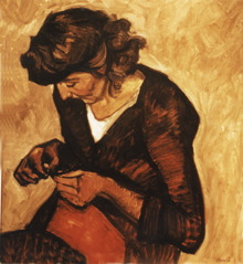 A painting of a woman sewing
