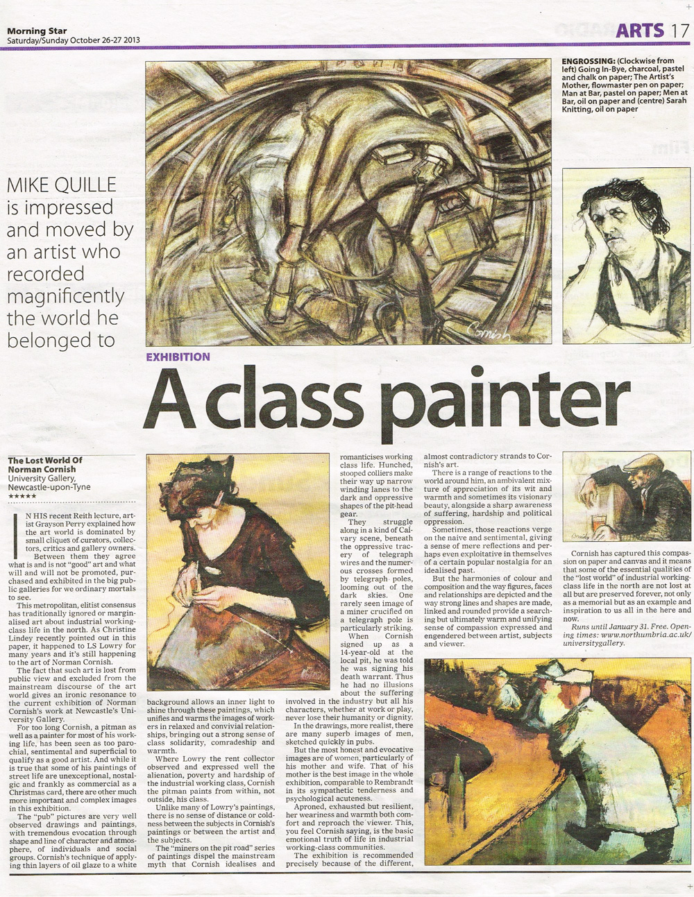 Newspaper article about Norman Cornish from the Morning Star